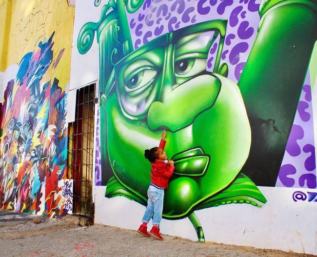 Multi Colored Graffiti Street Art Portrait Maboneng Precinct Beautiful Girl Favorite