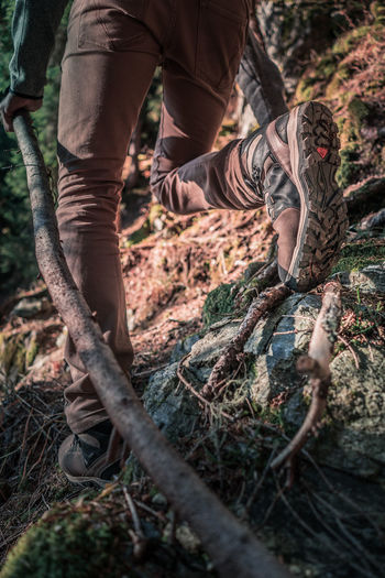 Wanderer in the woods Nature Wanderer Wanderlust Adult Day Forest Forest Photography Hiking Boots Human Body Part Human Hand Human Leg Live Authentic Low Section Men Mountain Nature One Man Only One Person Only Men Outdoor Outdoors People Real People Standing Tree