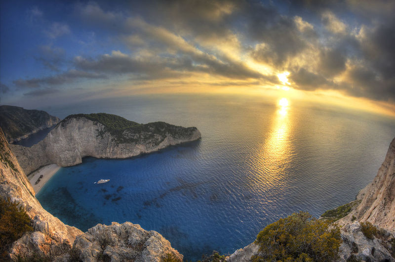 High Angle View Of Scenic Sea Against Sky During Sunset