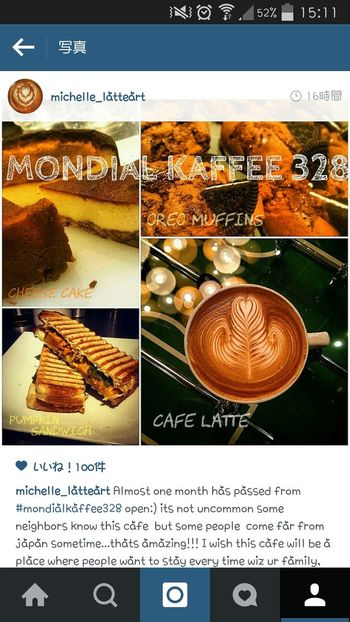 Thank you 100likes!!!! Please follow me on Instagram(@michelle_latteart) Cafe Coffee ☕ 大阪 Mondial Kaffee 328 Latteart Cafelatte 北堀江 Coffee Instagram