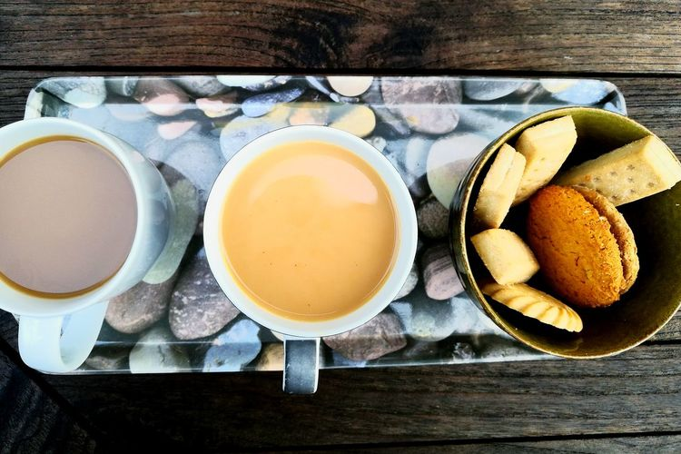 Food And Drink Food Day No People Healthy Eating Backgrounds Directly Above Drink Tea - Hot Drink Coffee Biscuit Biscuits Cup Hot
