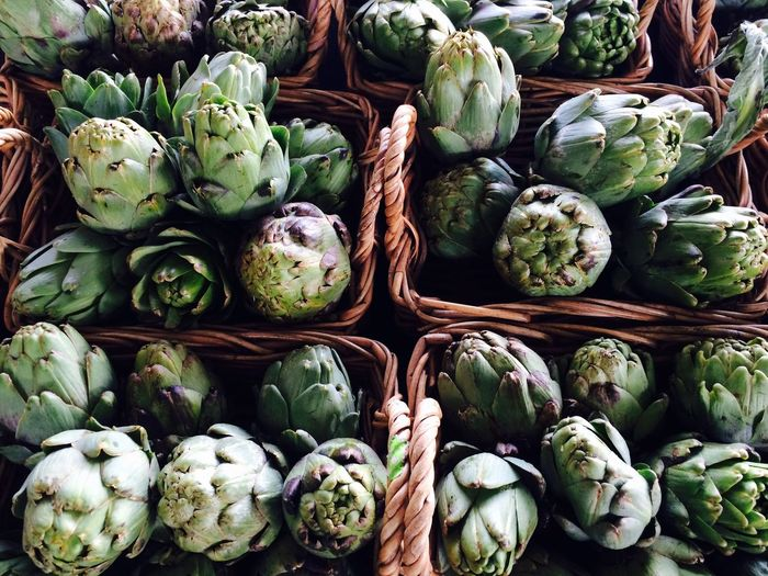 Artichokes Vegetable Full Frame Backgrounds No People Food And Drink Green Color Healthy Eating Freshness Market