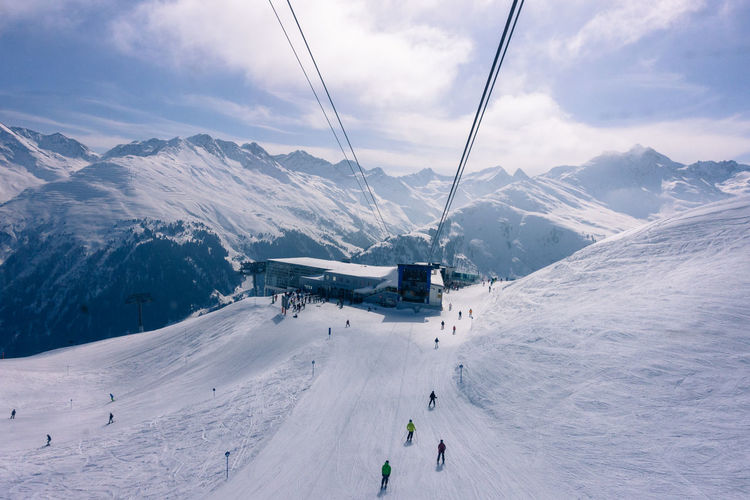 Cloud - Sky Cold Temperature Lines Mode Of Transport Mountain Mountain Range Overhead Cable Car Scenics Season  Skiing Snow Snowboarding Snowcapped Mountain Upintheair View From Above Winter
