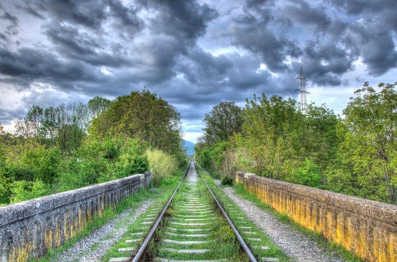 Bridge Clouds Clouds And Sky Cloudscape Green Leading Lines LINE Path Rail Railways Train