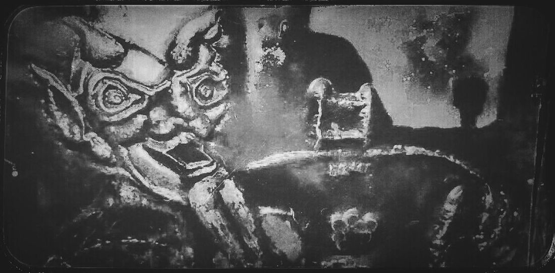 Art Blackandwhite Hammered Metal Devil