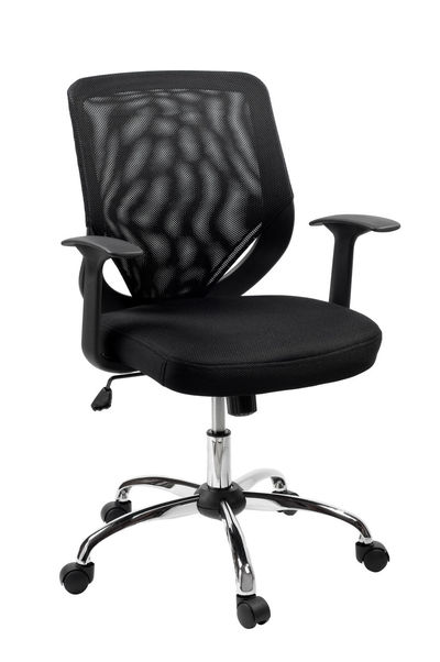 Comfortable single black swivel office chair or desk chair on one central leg with many wheels which allows to rotate seat, made of mesh material and plastic with chrome, object isolated on white background, vertical orientation, nobody. Adjustable Armchair Black Chair Chrome Furniture Isolated Mesh No People Object Office Revolving Rotate Seat Swivel Swivel Chair Wheel Wheelchair Wheels