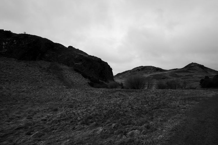 Holyrood Park 1 Beauty In Nature Blackandwhite Day Landscape Mountain Nature No People Outdoors Scenics Sky Tranquil Scene Tranquility