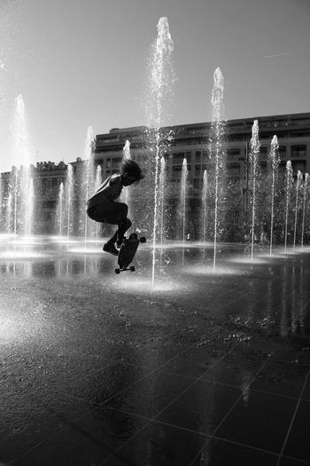 Splashing Motion Fountain Spraying Silhouette Sport Adventure Sky Full Length Women Who Inspire You Woman Skateboard Skatelife Skateboardlife SkateboardLifeStyle Bw_lover Bw_collection Blackandwhite Photography Outdoors Adults Only People Swimming Pool Adult Power In Nature Pixelated Sommergefühle EyeEmNewHere