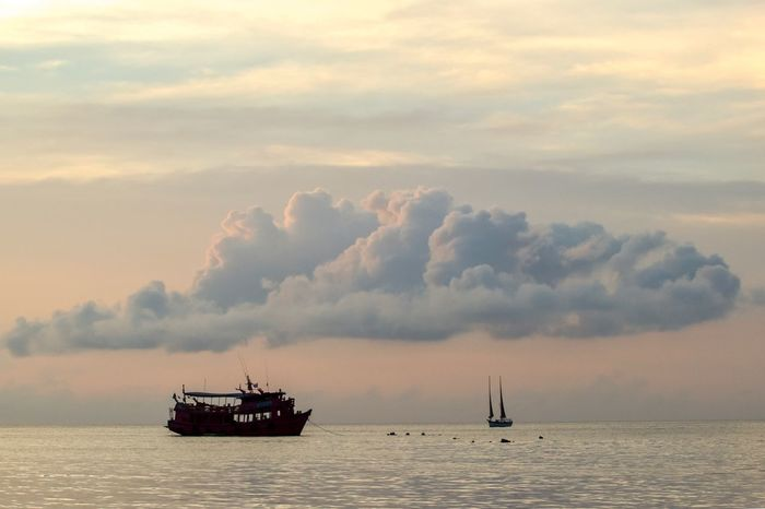Nautical Vessel Transportation Mode Of Transportation Water Cloud - Sky Sea Sky Tranquility Freight Transportation Waterfront Outdoors No People Beauty In Nature Travel Scenics - Nature Sailing Ship Sunset Nature Sailboat
