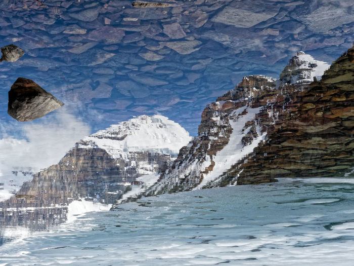 Reflection in the lake Cold Temperature Snow Winter Environment Nature Ice Scenics - Nature Mountain Beauty In Nature Glacier Frozen Snowcapped Mountain Mountain Peak Water No People Reflection Icefields Parkway Alberta