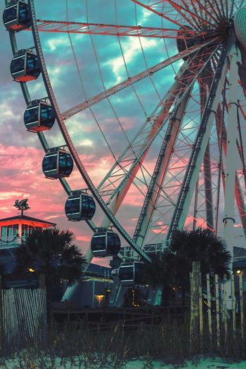Aesthetic Vide Sunset Color Contrast Contrast Amusement Park Amusement Park Ride Arts Culture And Entertainment Ferris Wheel Sky Low Angle View No People Outdoors Built Structure Big Wheel Architecture Tree Day