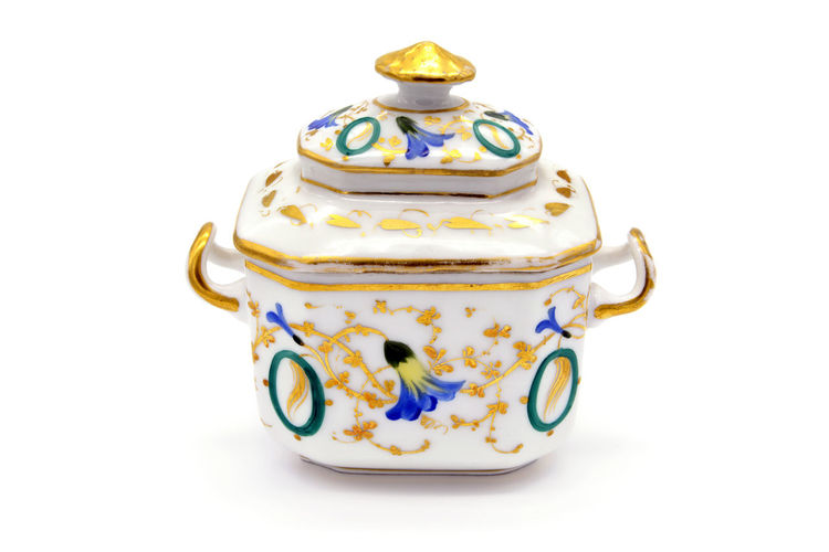 Antique Biedermeier porcelain sugar bowl with golden and blue flower ornaments. Antique Biedermeier Gold Isolated Porcelain  Sugar Box ♡♡ ` SugarBox Antique Antiques China Bone Gold Colored Isolated On White Isolated White Background Old Old-fashioned Sugar Bowl White Background Zuckerdose
