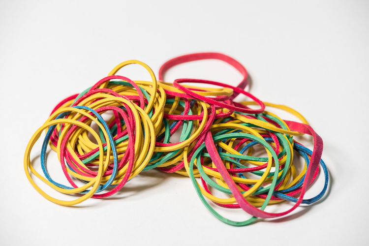 multicolored rubber Colored Copy Space Isolated Work Cable Close-up Colored Background Colorful Depressions Depressive Isolated White Background Multi Colored No People Nobody Rubber Rubber Band Studio Shot White Background