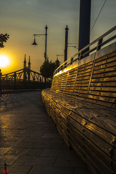 Still Bench Bench Bridge Bridge - Man Made Structure Budapest Dawn Eu Europe Evening Goldenhour GoldenHours Hungary Light Light And Shadow Riccsi River Silhouette Summer Sunset Wood Yelloq