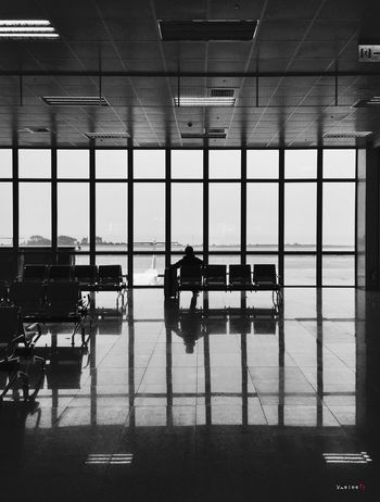 Taking Photos IPhone Iphonephotography IPhoneography Monochrome Black Blackandwhite Silhouette Terminal Airport Airport Waiting In The Terminal Kinmen