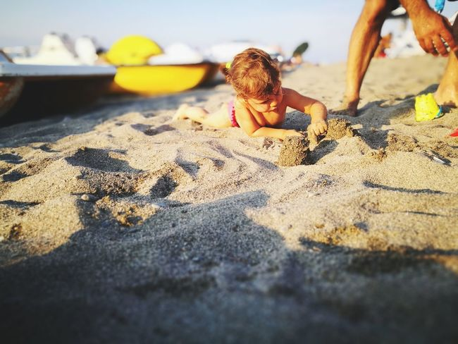 Sunset Child Playing Play Beach Childhood One Child Summer Lightness Lightness Of Being Beach Life Child At The Beach Child At Play Child Playing Sand Pail And Shovel Beach Water Sand Sea Shadow Sunlight Sky Close-up Sandcastle Sand Dune