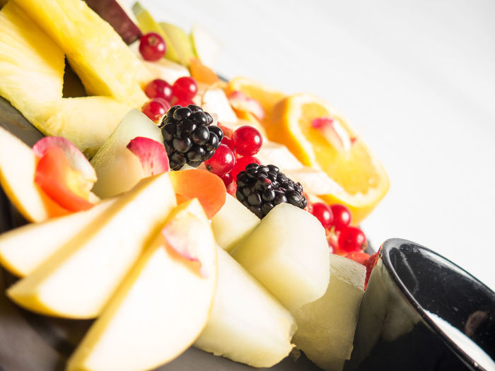 Close-Up Of Fruits Served In Plate