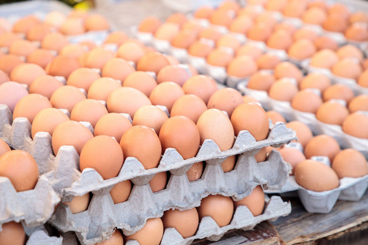 Close-up of eggs for sale in market