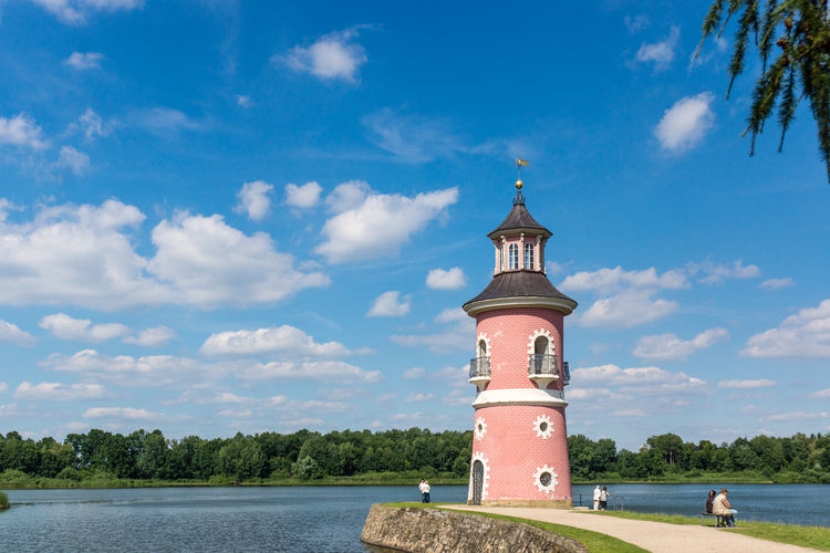 Leuchtturm am Fasanenschlößchen, Moritzburg bei Dresden Beauty In Nature Blue Built Structure Cloud Cloud - Sky Cloudy Day Eye4photography  From My Point Of View Grass Green Color Growth Landscape Nature No People Outdoors Scenics Sky Tranquil Scene Tranquility Travel Destinations Tree