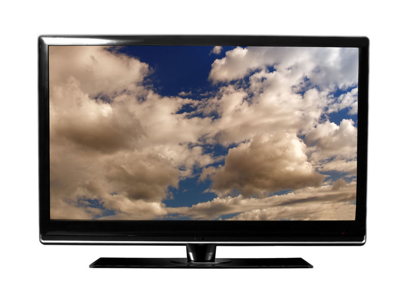 Arts Culture And Entertainment Cloud - Sky Device Screen Film Industry Flat Screen Liquid-crystal Display No People Studio Shot Technology Television Set Television Show Video White Background Wide Screen
