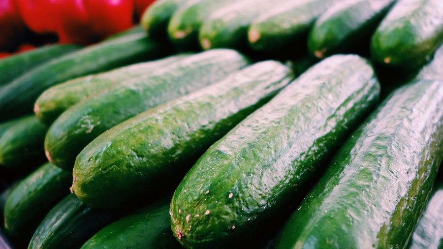 Close-up of cucumbers for sale at market