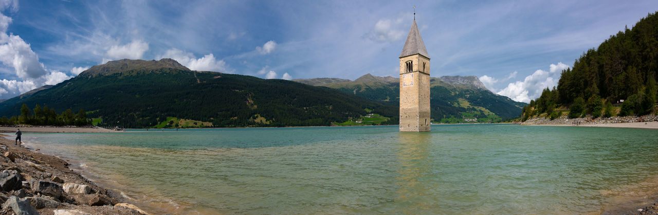 Graun Im Vinschgau Reschensee Architecture Bell Tower Building Building Exterior Built Structure Day Italy Lago Di Resia (Reschensee) Lake Nature No People Outdoors South Tyrol Submerged Tower Val Venosta Vinschgau Water