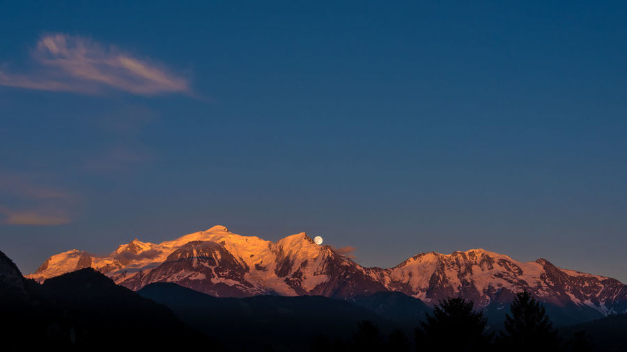 Scenic view of snowcapped mont blanc massif against sky at dusk