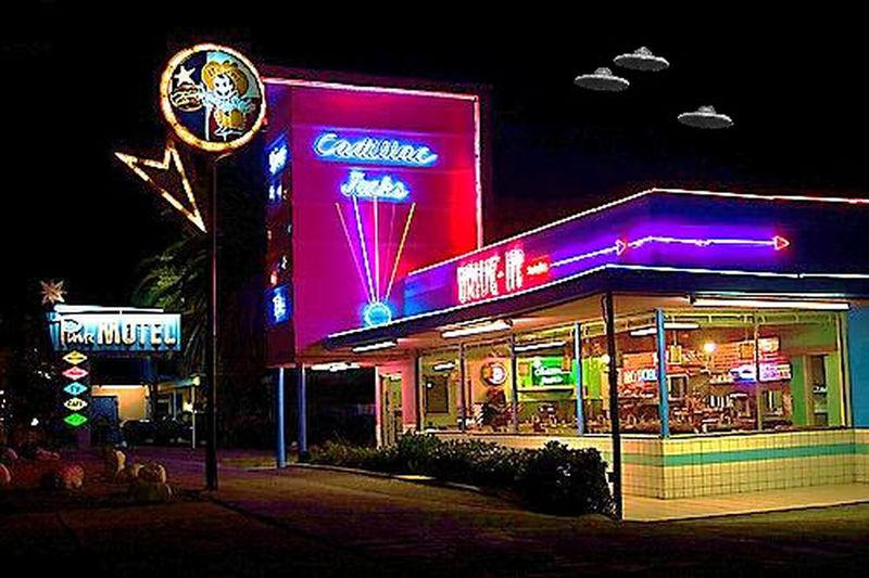 Cadillac Jacks Cafe Pink Motel Paranormal Activity Clouds just having fun