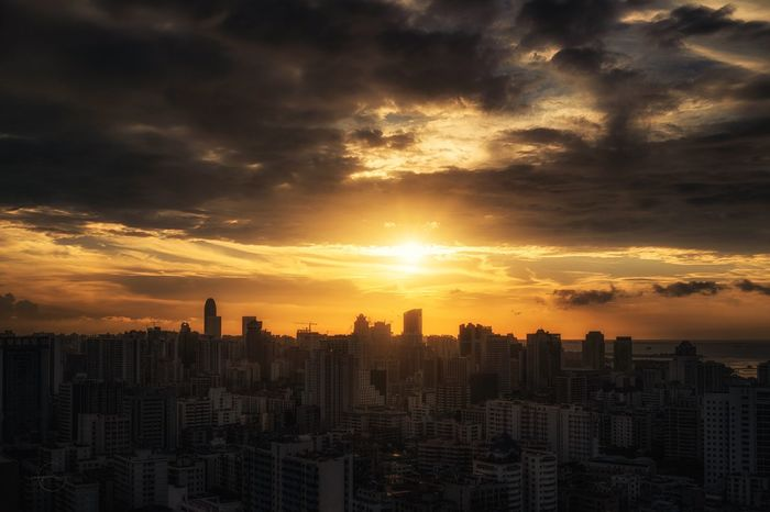 Sunset Building Exterior Architecture Cityscape Skyscraper Sky Cloud - Sky Built Structure City No People Travel Destinations Modern Outdoors Urban Skyline Nature Day