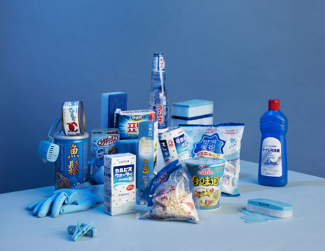 View of food on table against blue background