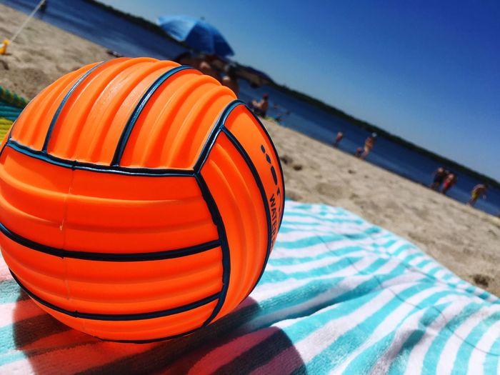 beach! Ball Orange Color Nature Focus On Foreground Beach Sky Sunlight Outdoors Relaxation Water Land Sport