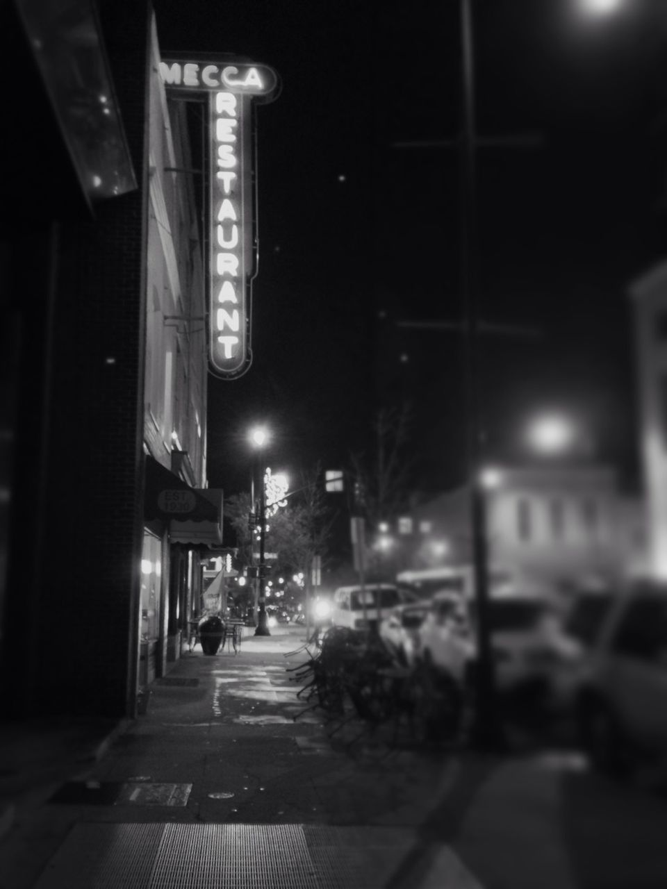 illuminated, night, street, lighting equipment, building exterior, street light, architecture, city, built structure, outdoors, stoplight, no people, sky