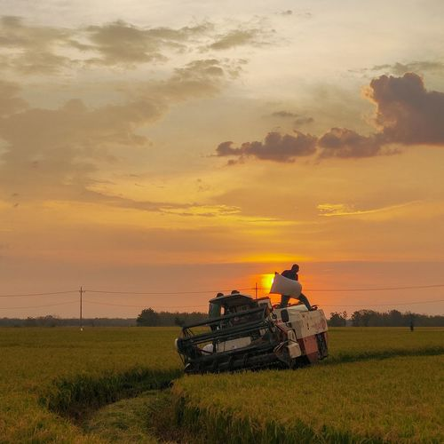 Tractor on field against sky during sunset