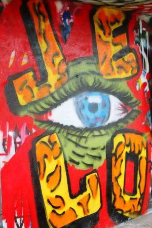 Creepy eye art. . . I see you. . .(Abandoned Miami Marine Stadium Key Biscayne, FL)