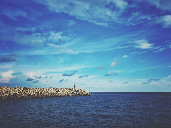 Wave line Sky Sea Water Cloud - Sky Horizon Over Water Horizon Beauty In Nature Scenics - Nature Tranquility Tranquil Scene Blue Nature No People Waterfront Land Day Beach Bird Animal Themes Outdoors