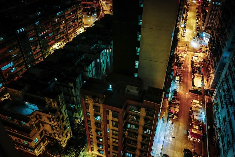 Nightphotography Discoverhongkong Reframinghk Street Photography Night Building Exterior Illuminated City Architecture Built Structure Cityscape Lighting Equipment No People Building High Angle View Street Outdoors Decoration City Life City Street Glowing Transportation Skyscraper Road