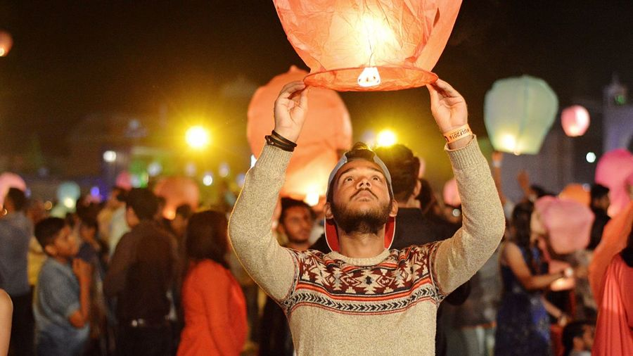 Make a wish. Portrait Lifestyles Lantern Lanternfestival Men Celebration Event Happiness Wish Fresh On Eyeem