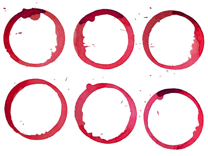 Circle Ink Red Ink White Background Wine Stain