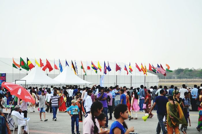 Landscapes With WhiteWall Air Show Carnival Crowded Huge Crowds Of People Busy People Country Flags Flying High