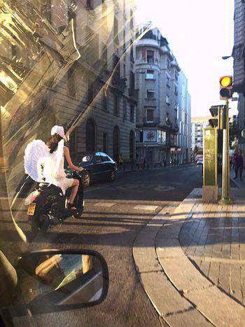 Mode Of Transport Street Madrid Spain IPhone 6 Plus Photohgraphy📱📸 Lifestyles Ángel Viajando En Moto