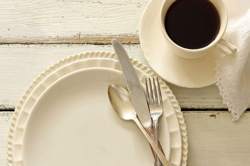 Meal Background Beautiful Charming Coffee Cup Concept Cutlery Design Dishes Empty Plate Flat Lay Food And Drink Linen Napkin Meal Time Menu Mock Up Overhead Room For Copy Silver  Styled Table Setting Top View Vintage Weathered Wood White Table