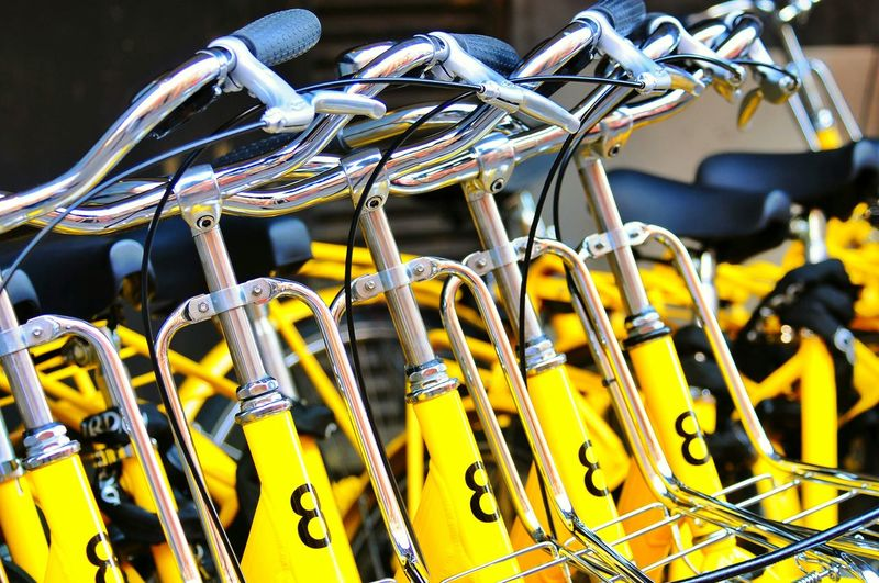Close-Up Of Yellow Bicycles