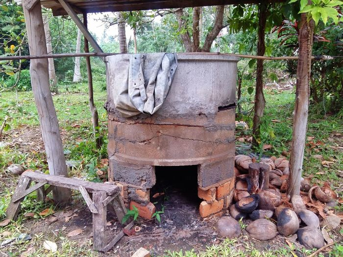 The small brick furnace and soot in it , at Thailand Ancient Antiquated Antique Antique Building Archaic Architecture Architecture Details Architecture_collection Architecturelovers Asian  Kiln Nature Old Old Buildings Old Kiln Outdoors Primitive Stove Stove Burner Thailand Tree
