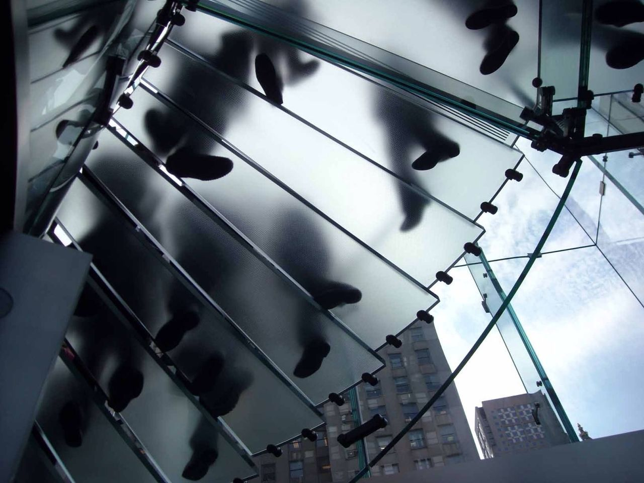 Low angle view of glass steps
