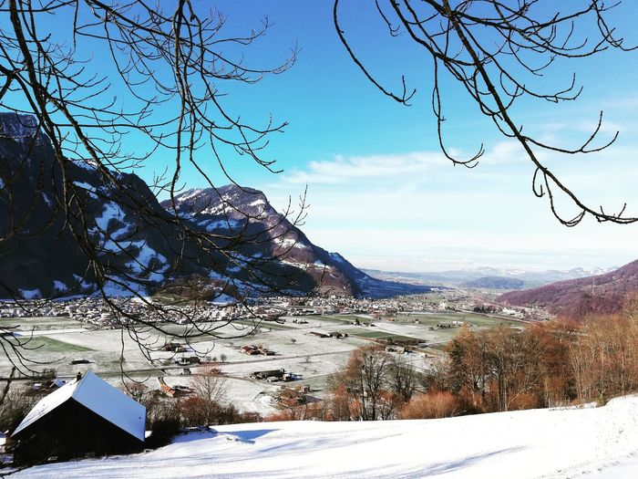 Lintebene Switzerland Aussicht Panorama Glarus Snow Mountain Cold Temperature Winter Sunlight Sky Landscape Bare Tree Growing Snowcapped Branch Countryside Snowcapped Mountain Woods