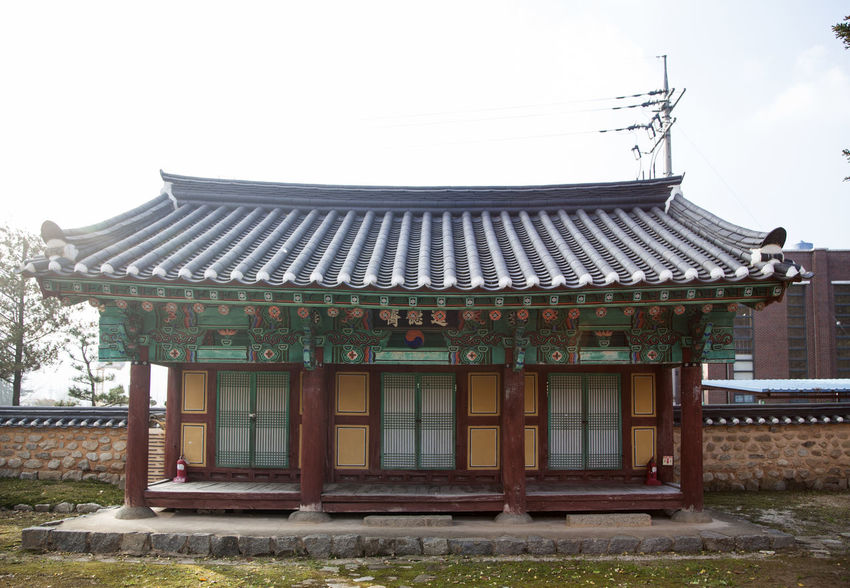 Jangsu Hyanggyo, Jangsugun, Jeonlabukdo, South Korea Ancient Architecture Autumn Building Exterior Built Structure Cultural Heritage Day Fall Ginkgo History In The Past Korean Traditional Architecture No People Old Outdoors Place Of Worship Roof Sky Tiled Roof  Travel Destinations