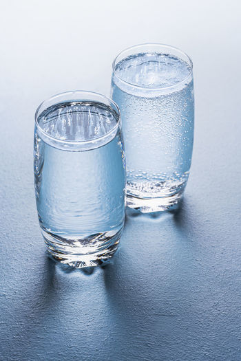 Close-up of water glass on table