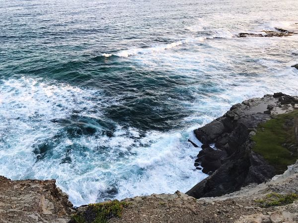 Raw edge Sea Water Nature Wave Beauty In Nature Rock - Object Scenics High Angle View Outdoors Horizon Over Water Day No People Motion Cliff Sky
