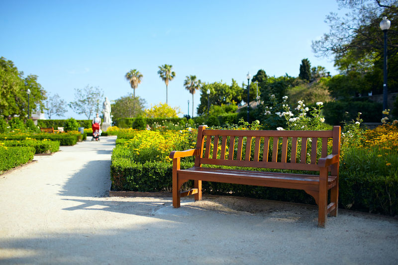 Barcelona Bench Courtyard  Day Flower Furniture Garden Nobody Park Relax Relaxation Rest Road Sky Summer Tree Way Wood