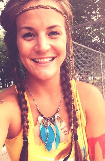 Pocahontas  Indian Tribe Camp Counselor Girl Braid Braided Hair Feather